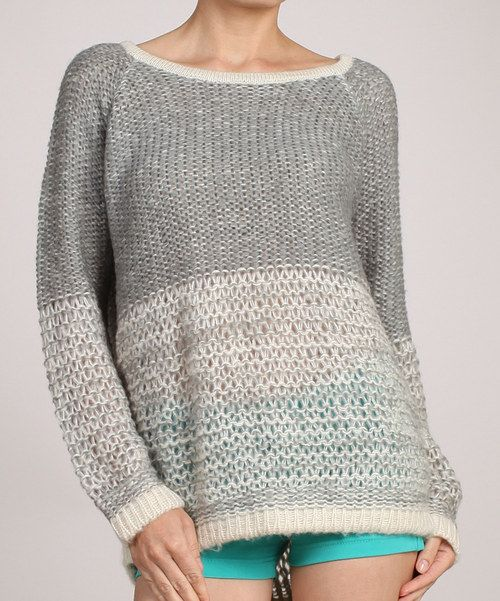 Take a look at this Gray & Beige Loose Knit Sweater on zulily today!