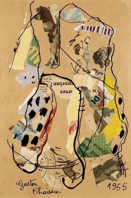Gaston Chaissac (1910-1964), Composition, 1955, Collage et encre sur papier