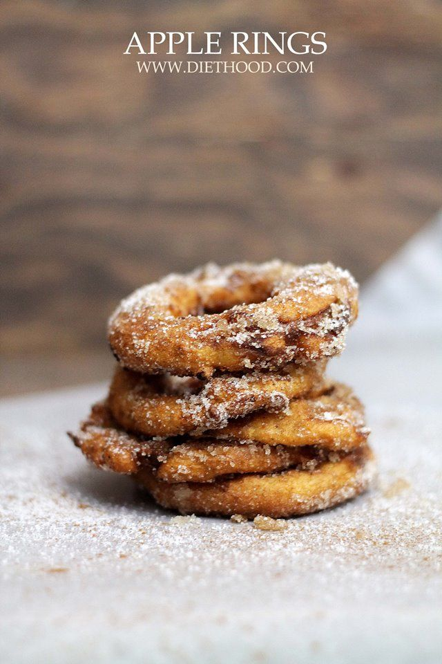 Apple Rings: A quick and delicious snack of sliced apple rings dipped in a yogurt batter, fried, and topped with cinnamon-sugar.