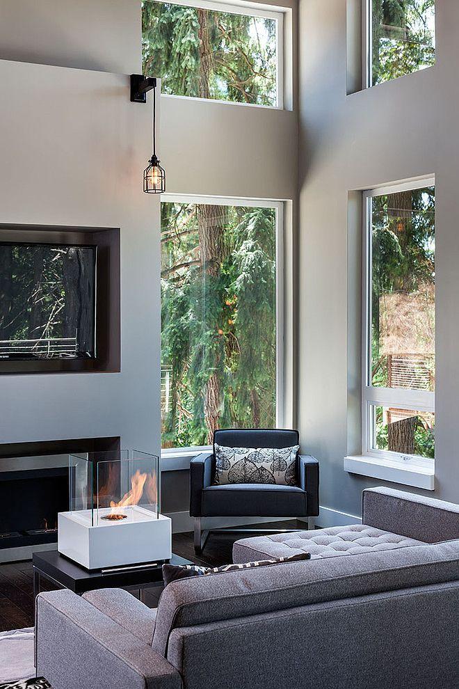 window over fireplace .