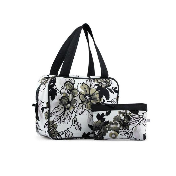 Necessär & sminkväska blommig svart vit Karen 5192-46-86