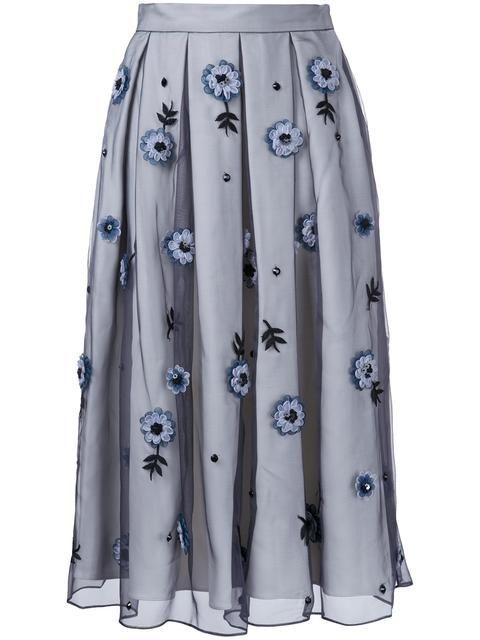 HOLLY FULTON Flower Embellished Pleated Skirt. #hollyfulton #cloth #skirt