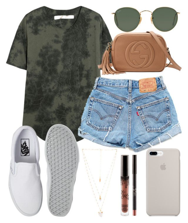"""""""Have an amazing day!"""" by jadenriley21 on Polyvore featuring Raquel Allegra, Levi's, Gucci, Ray-Ban, Vans and Natalie B"""