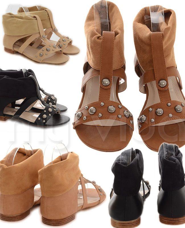 -> http://www.myvida.org <- #Scarpe #donna #fashion sandali in tela. Ciabatte #style gladiatore con borchie e tacco basso, scarpe #estive in voga nella stagione primavera/estate #summer