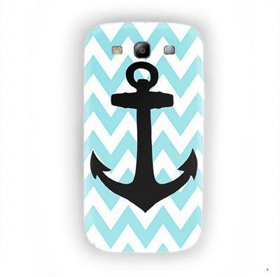 Aqua Blue Anchor Custom Phone Case For Samsung Galaxy S3 Case