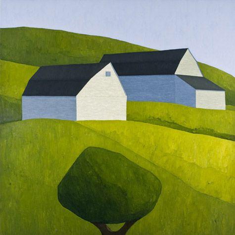 Scott Redden. White Barn. 2008. oil on linen. 60x60