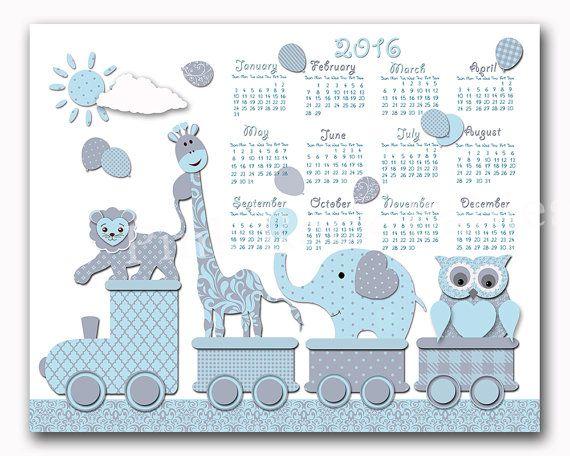 2016 calendar owl elephant giraffe wall decor by PinkRockBabies