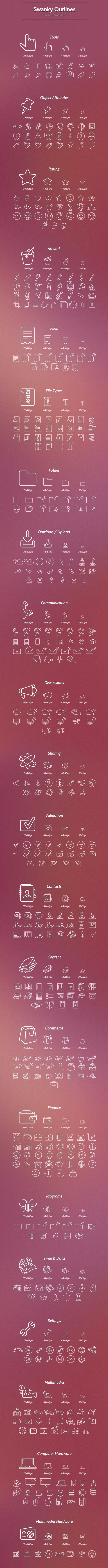 Swanky Outlines - 1000 ICON SET http://pixelkit.com/amember/aff/go?r=27299&i=25 #icon #design