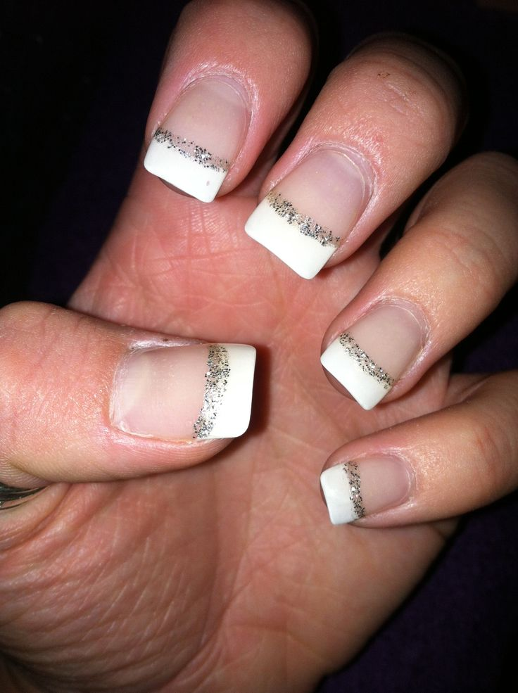 Silver French Tip Nails