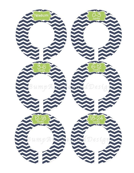 Custom Baby Closet Dividers Boy Baby Nursery Dividers Navy Blue Green Chevron Baby Shower Gift Closet Organizers Baby Boy 015 on Etsy, $9.00