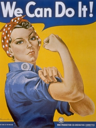 """WWII Patriotic """"We Can Do It"""" Poster by J. Howard Miller Featuring Woman Factory Workers Premium Photographic Print at Art.com"""