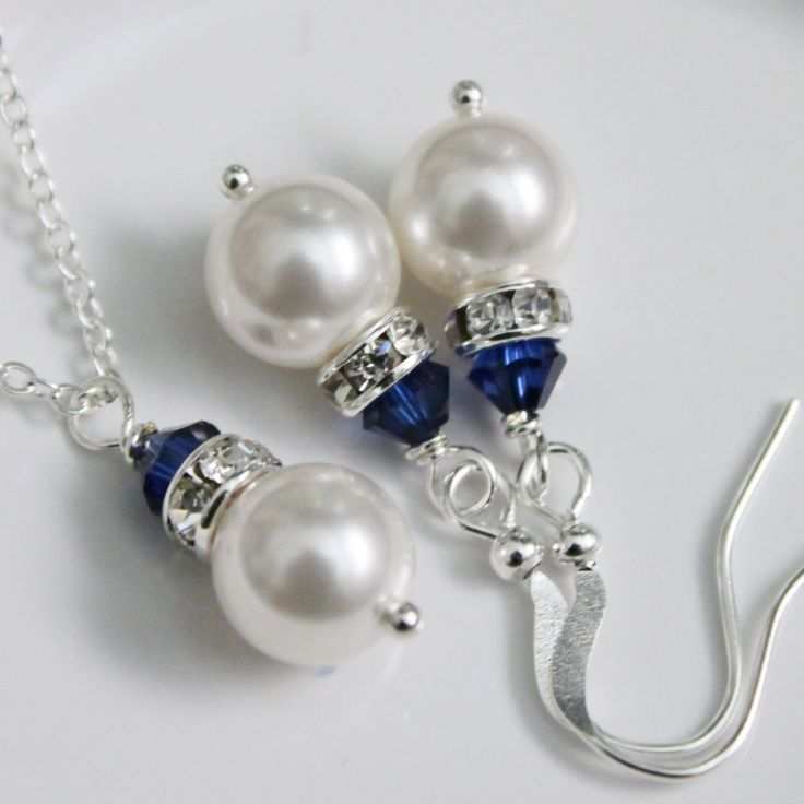 CHOOSE YOUR COLORS - White Pearl Jewelry Set, Navy Jewelry Set, Bridesmaid Gift, Blue Necklace and Earring Set by alexandreasjewels on Etsy