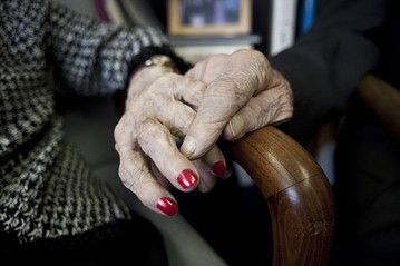 Helen 'Happy' Reichert, 109 years old, holding hands with her brother Irving Kahn, 105. The siblings are part of Albert Einstein College of Medicine's ongoing study of 500 of the oldest people in the New York area. Visit www.einstein.yu.edu/centers/aging/ for more information.