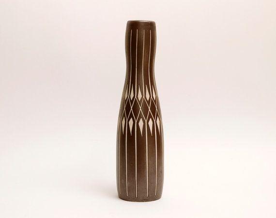 Tall PIESCHE & REIF Vintage Vase East Germany  Modernist Studio Ceramic