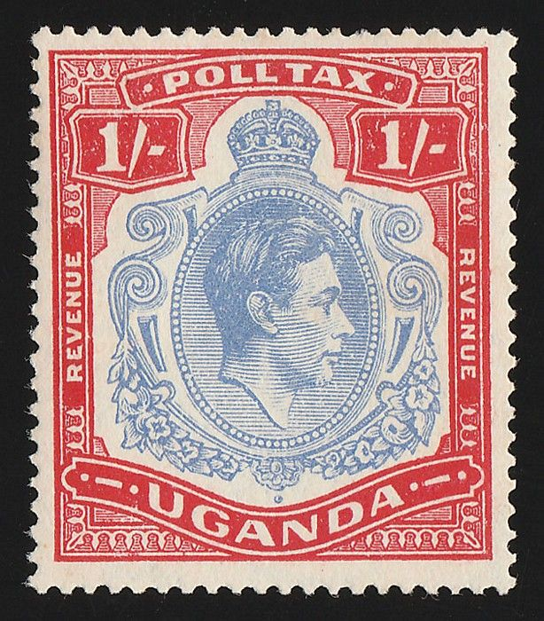 1940 KGVI 1/- red & blue, Poll Tax Revenue. Superb M, with original gum, bright colours. Bft 1 cat £750+++. Extremely rare -1st example we have ever seen. (P) #Stamps #MADonC
