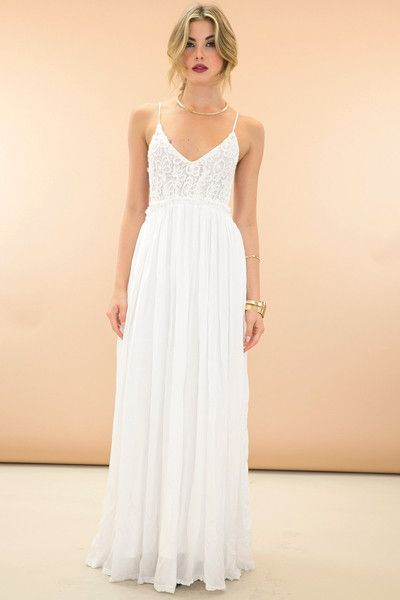 dac958d6d4 White maxi dress with crochet top. | Dressy Maxis, Rompers, and ...