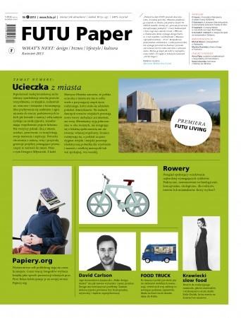 FUTU PAPER NR 4 Ukazał się czwarty numer FUTU Paper. W wiosennym wydaniu dużo świeżego designu, wywiady o kawie, kwiatach, tapetach i duńskich meblach oraz doskonała architektura małych domków letnich.