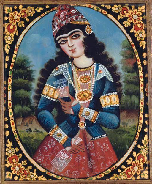 REVERSE GLASS PAINTED PORTRAIT OF A MAIDEN QAJAR IRAN, 19TH CENTURY Oil on glass, a maiden stands in a leafy landscape wearing an ornate jacket with pearls and gold elements and a red floral dress, holding a glass in one hand and a decanter in the other, within an oval frame of gold floral motifs heightened with red, green and white, framed 10 5/8 x 8¾in. (27 x 22.2cm.)