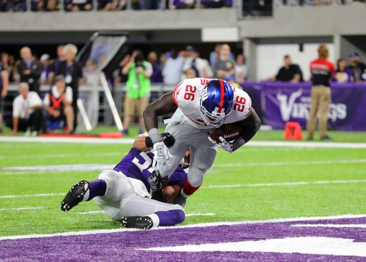 Monday Night Football: Giants vs. Vikings:   October 3, 2016  -  24 - 10, Vikings  -    Orleans Darkwa of the New York Giants carries the ball for a touchdown in the second half of the game against the Minnesota Vikings on Oct. 3, 2016 at U.S. Bank Stadium in Minneapolis.