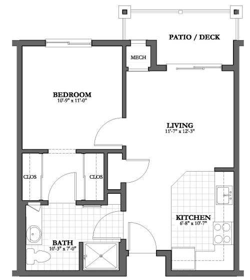 Independent And Simplified Life With Garage Plans With: 1 Bed 1 Bath Independent Living Floor Plan