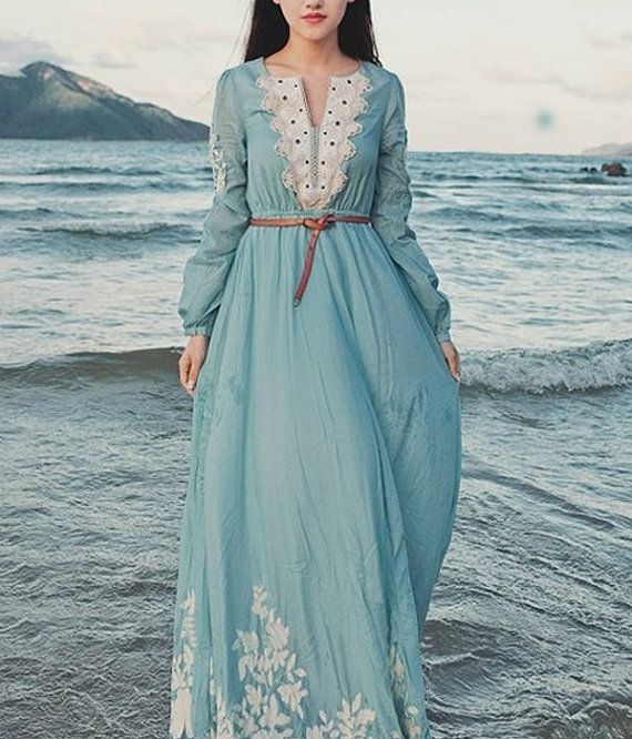 Maxi dress long sleeves dress spring dress summer by 1000love, $60.00