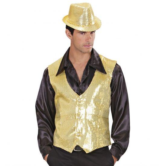 Glitter & Glamour themafeest: Gilet met pailletten goud voor heren. Gouden gilet voor heren met pailletten en knoopsluiting.