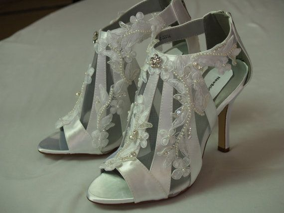 Modern Victorian Wedding Shoes high heels lace by NewBrideCo, $172.00