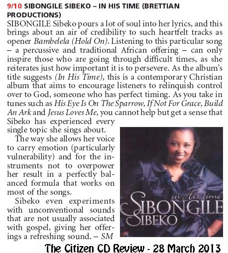 Sibongile Sibeko in the Citizen Newspaper - 23 March 2013