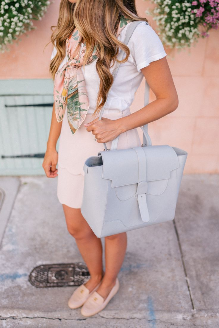 Gal Meets Glam The Perfect Bag - Current Elliott tee, Gucci scarf, Club Monaco skirt, SENREVE handbag c/o & Chanel loafers