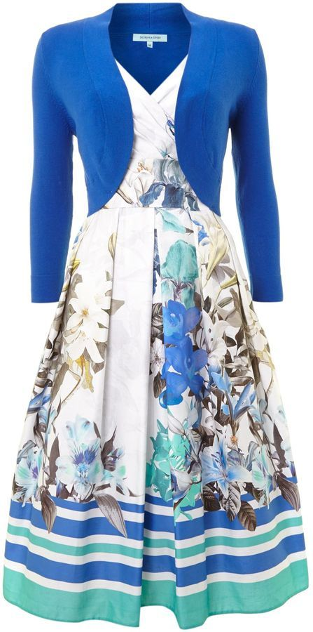 House of Fraser Dickins & Jones Ladies floral stripe occasion dress with shrug on shopstyle.co.uk