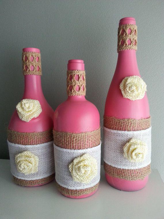 Decorative Set of 3 Pink Wine Bottle Vase by BottleliciousDesigns