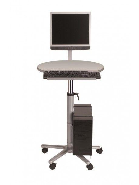 Découvrez notre poste de travail statique pour écran plat de la marque MAUL. Table disponible en mélaminé gris ou en multiplex plaqué coloris hêtre. La hauteur est réglable de 75 à 120 cm.