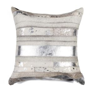 Torino Madrid Pillow in Gray and Silver