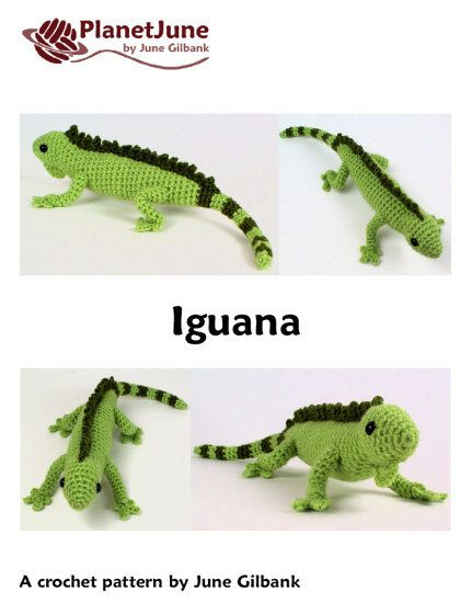 Amigurumi Halloween Free Patterns : PDF Iguana (lizard) amigurumi CROCHET PATTERN Green ...