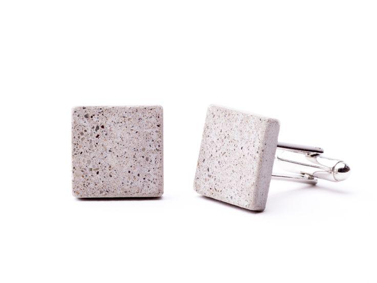 AB concrete design - burnish gray Cufflinks, Cuff, Men, concrete, design, gray, stone, square, polygon, rock, minimal, elegant