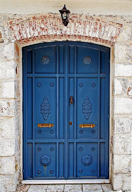 Door at Asomatos village, at Lesvos island. Greece