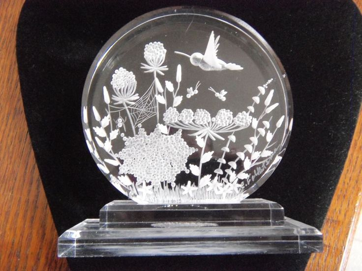 Lucite Acrylic Reverse Carved Signed Paperweight Flowers Hummingbird Spider Web
