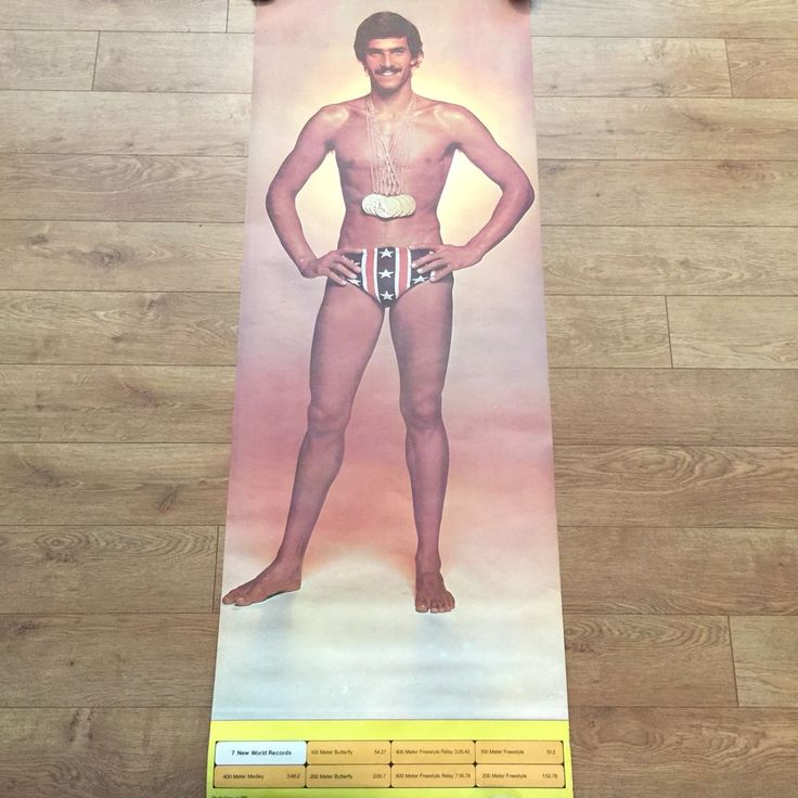 Vintage Mark Spitz Poster 1972 68 x 24 Seven Gold Medals Stars and Stripes Vtg
