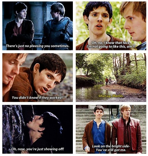 "Merlin and Arthur's face in the last one describes their ""he's my servant/king but my brother too"" relationship perfectly! <4"