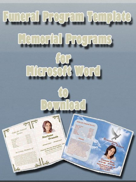 Collection of funeral program template for Microsoft Word also memorial programs, obituary, order of service for the event.