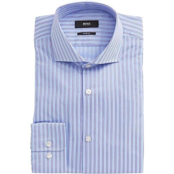 Hugo Boss Striped Dress Shirt ($125) ❤ liked on Polyvore featuring men's fashion, men's clothing, men's shirts, men's dress shirts and purple