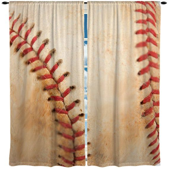 Custom Window Curtain or Valance, Realistic Stitched Vintage  Baseball Theme- Any Size