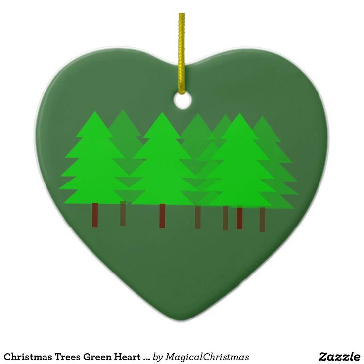 Christmas Trees Green Heart Ornament