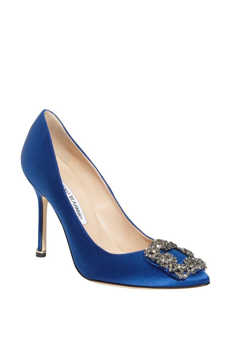 "Manolo Blahnik Ivory And Black Cap Toe Guingla Diamond: The Dream ""something Blue"" Wedding Shoe! This Manolo"