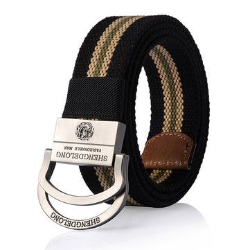 125CM Mens Double Ring Alloy Buckle Belt Outdoor Canvas Military Tactical Jeans Strip at Banggood