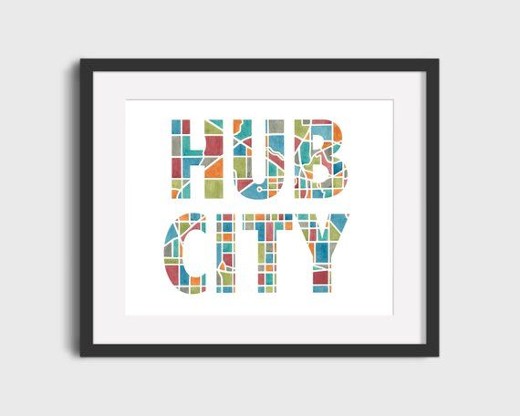 Hub City Lubbock Texas Map Art Travel Map Creative Map Map Lettering Map Decor Map Gifts Map Home Decor Typography Prints Creative Typography Map Art