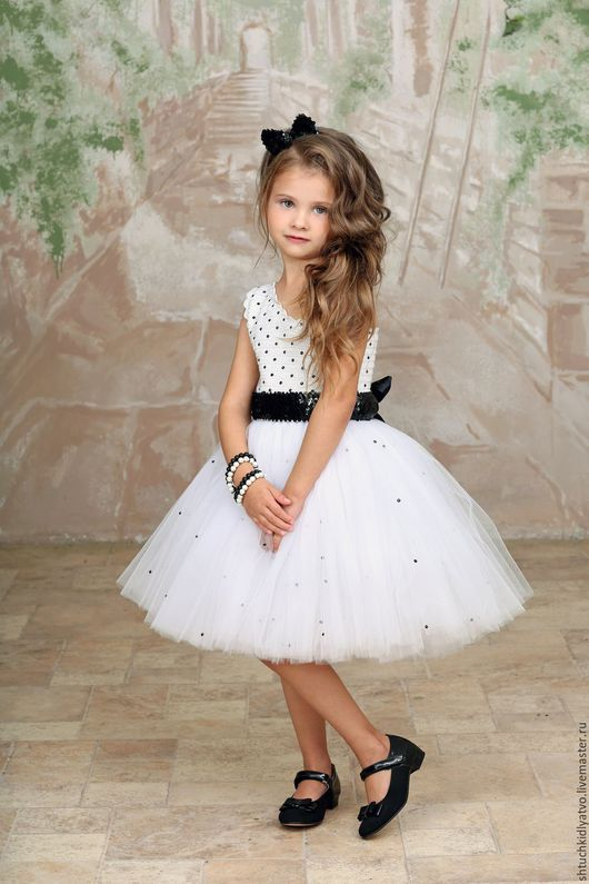 Одежда для девочек, ручной работы. Ярмарка Мастеров - ручная работа. Купить Авторское пышное платье белое на одно плечо. Handmade.