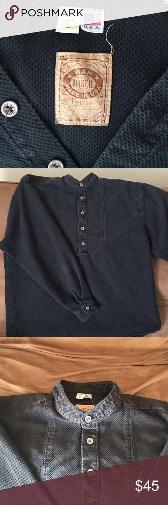 """Black Scully WahMaker Hardwick Shirt Men's WahMaker Black Hardwick Shirt. Size: Large. WahMaker is a brand known for its authentic Western wear from back in the turn of 20th century.  Made in U.S.A. Metal buttons. The shirt is nice and I would keep but it's not my size. From a site selling shirt, """"This distinguished scallop bib front has an air of sophistication, It features a band collar and four-hole pewter alps buttons. 100% cotton. Machine wash cold and hang dry"""" #WahMaker #WesternShirt…"""