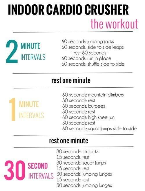 Indoor Cardio Workout. This is excellent, even if you're already in great