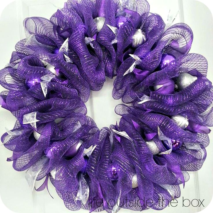 purple mesh wreaths | Not So Traditional Christmas Colours: